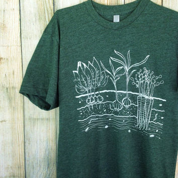 Vegetable Garden Mens/Unisex T Shirt - XS S M L XL XXL - Hand Screen Printed