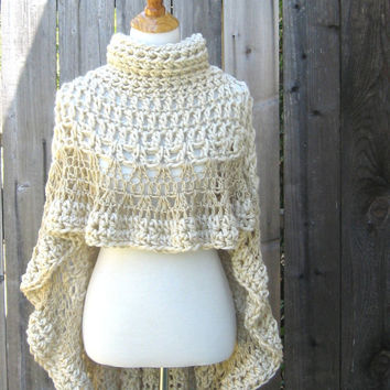 Cream BEIGE PONCHO TURTLENECK  Crochet Victorian Poncho Feminine Capelet Chic Romantic Fashion Ruffled Original Hippie