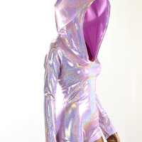 Lilac Holographic Purple Long Sleeve Hoodie Romper