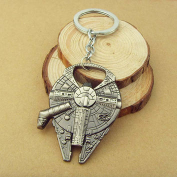 HOT SELLING!! Movie Star Wars Keychain Millennium Falcon Metal Bottle Opener Key Chains 4.1*5.7cm Key Holders For Men Jewelry