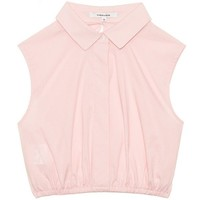 Carven Cropped pink poplin top