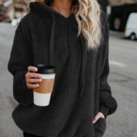 Solid Color Sherpa Hooded Pullover