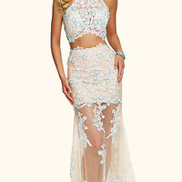 Long Ivory Two Piece Lace Prom Dress by Mori Lee