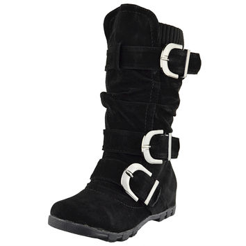 Kids Knee High Boots Ruched Leather Triple Buckle Side Zipper Closure Black SZ