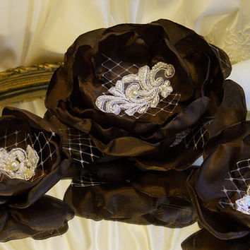 Set of 3, Dark Chocolate Brown Silk and Lace Cake Topper Peony Flower with matching accent flowers.