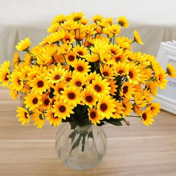Fake Silk Artificial 14 Heads Sunflower Flower Bouquet Floral Wedding Home Party CE