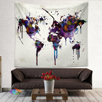 Abstract world map tapestry wall hanging sandy beach picnic throw rug blanket camping tent travel sleeping pad free delivery