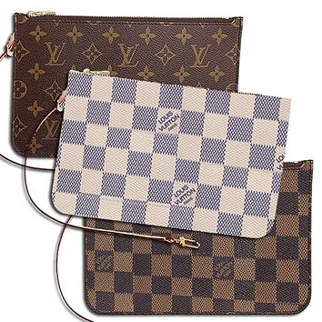 LV Fashion Women Louis Vuitton Coin purse Wrist Bag Cute Wallet White Check B