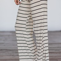 Tan & Black Striped Lounge Pants
