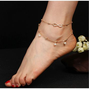 Fashion selling pearl 8-character anklet jewelry hand-beaded double bracelet