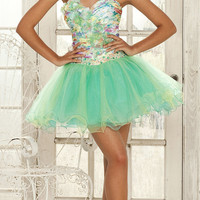 Light Green & Floral Taffeta & Tulle Sweetheart Strapless Short Dress - Unique Vintage - Cocktail, Evening  Pinup Dresses
