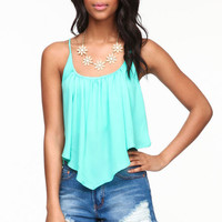 PLEATED CAMI CROP TOP