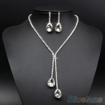 Bridal Wedding Silver Plated Crystal Rhinestone Necklace Earrings Jewelry Set (Color: Silver) = 1932429508