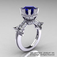 Modern Vintage 14K White Gold 3.0 Ct Blue Sapphire Diamond Solitaire Engagement Ring R253-14KWGDBS