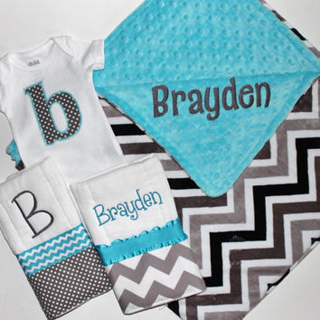 Personalized DOUBLE MINKY CHEVRON Baby Boy Blanket or Lovey Plus 2 Burp Cloths and Initial Bodysuit - Turquoise and Gray