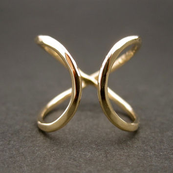Infinity Ring (Wide) -  Solid 14k Yellow Gold Promise Ring