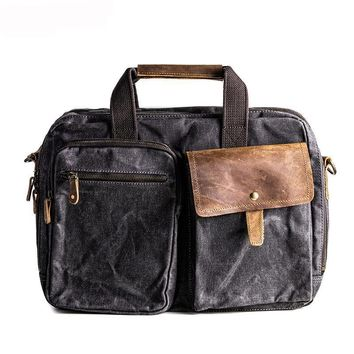 Vintage Style Wax Canvas Men's Messanger Bag