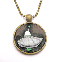 UFO Necklace UFO Jewelry Alien Necklace Alien Jewelry Hand Carved Leather Peandant Necklace Aliens Unqiue UFO Necklace