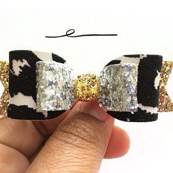 NEW Zebra Print Hair Bow, Gold and Silver Glitter Hair Bow, Animal print Sparkling bow, Felt HairClip, Black and white Headbands