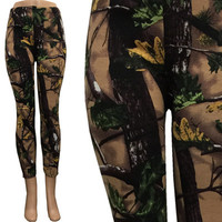 Fleece Lined Forest Camo Leggings