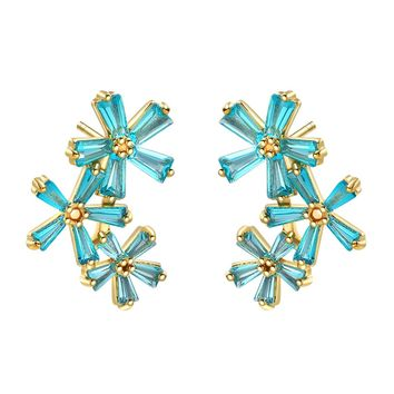 Fancy Beautiful Triple Lucky Magical Flowers Gold-Tone Baguette Sky Blue Crystals Earrings