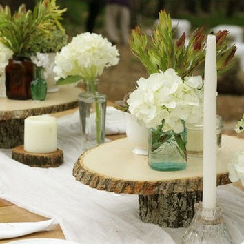 20 Rustic Wedding Centerpiece Tier Tree Wood Slice Large Mason Jar
