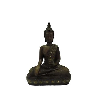 Benzara Polystone Buddha Figurine With Pointed Ushnisha, Brown