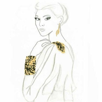 Gold Embellishments- Print from original fashion illustration by Lexi Rajkowski