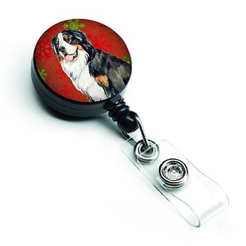 Bernese Mountain Dog Red  Green Snowflakes Holiday Christmas Retractable Badge Reel LH9334BR