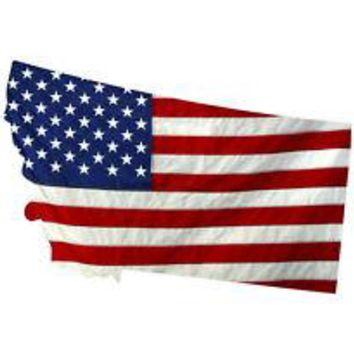 State of Montana Realistic American Flag Window Decal - Various Sizes