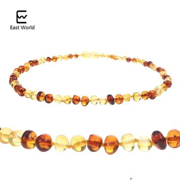 EAST WORLD Baby Amber Teething Necklace Women Popular Natural Amber Jewelry Luxury Explosion Models Cognac Gold Designs Bracelet