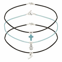 Cord Choker Multi-pack - Turquoise