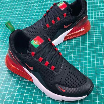 Nike Air Max 270 Fifa World Cup 2018 For Portugal In Black Red Sport Running Shoes - Sale