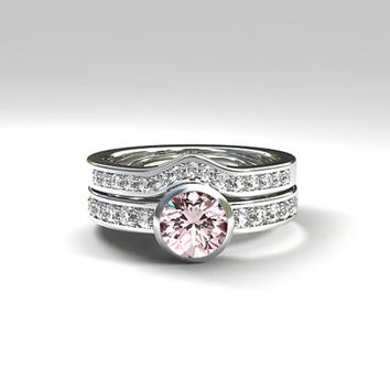 Pink morganite engagement ring set, diamond ring set, white gold, bezel, solitaire, half eternity, wedding ring set, pink engagement, curved