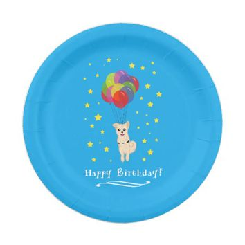 Puppy with Balloons Paper Plate