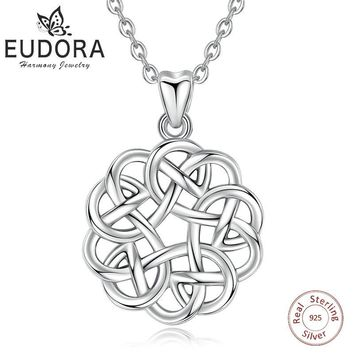 EUDORA Unique 925 Sterling Silver Celtics Love Knot Flower Pendant Necklace Fashion Women Jewelry Family Girl Birthday Gift D256