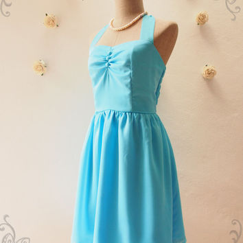 BLOOM : Sky Blue Dress Blue Halter Dress Sky Blue Bridesmaid Dress Vintage Party Dress Wedding Prom Dress -Size XS,S,M,L,XL, Custom