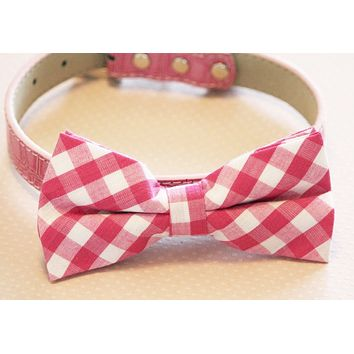 Plaid Pink Dog Bow tie with Collar, pink wedding bow tie, Love Pink