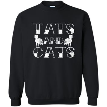 Tats And Cats  Kitten & Tattoo Lover Gift Printed Crewneck Pullover Sweatshirt