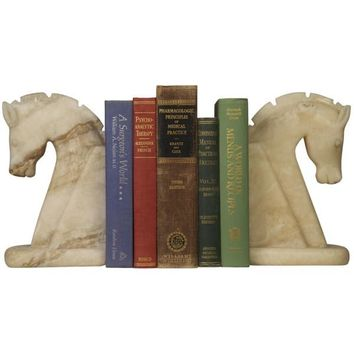 Chess  Horse Bookend, White Marble