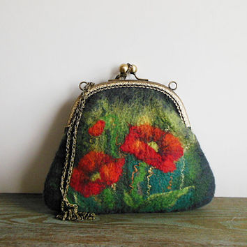 Felted bag Hand felted bag poppy green gray purse  pouch  metal frame purse, wool felted, OOAK bag, designer bag, one of the kind bag