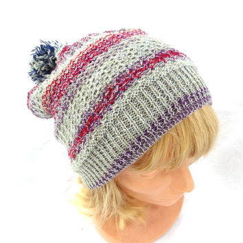 knitted gray beanie hat, knit colorful hat, knitting winter cap, gray red purple slouche, striped tam, pom pon cloche, women men accessories