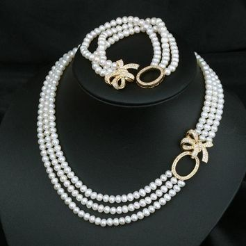 CREYUG3 Jewelry Gift New Arrival Shiny Stylish Pearls 925 Silver Butterfly Accessory Necklace [4914866372]