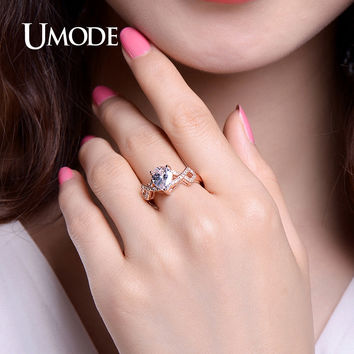 UMODE Rose Gold color Vintage 1.75ct Pear Cut Cubic Zircon Engagement Wedding Rings for Women Bijoux Anillos Mujer UR0365C