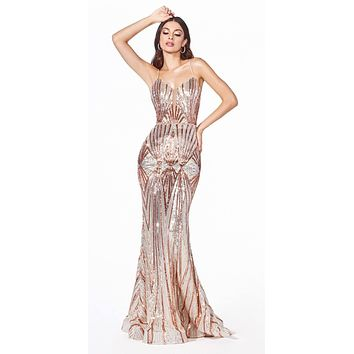 Long Fitted Sequin Gown Gold Art Deco Sequin Print Open Back