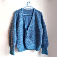 Womens Blue Sweater Vintage Pullover 90s 1990s Knitwear Large L