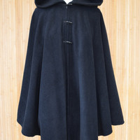 Womens' Black Handmade Hooded Cape / Hooded Cloak