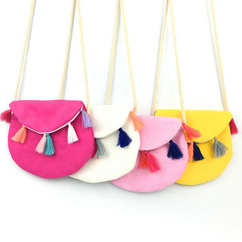 New Children Summer Colorful Fabric Bag Tassel Soft Kids Messenger Bag Cool Canvas Casual Small Bag Vintage Design Baby Gifts