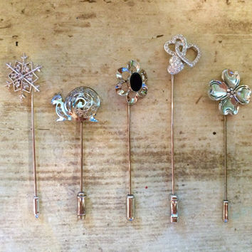 Vintage Silver Stick Pins, Wedding Brooch Bouquet Supplies, Vintage Jewelry, Scatter-pins, Fall Winter Fashion, Mothers Gift, Set Lot of 5