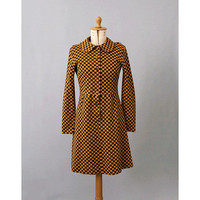 1960s printed Mod Dress long sleeves/ 60s winter dress/ vintage printed dress small